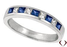 0.58CT Princess Cut Diamond and Sapphire Wedding Band 14k