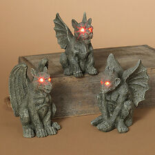 "2213470 4.9"" B/O Lighted Eyes Resin Gargoyle Set/3 Halloween Table Decoration"