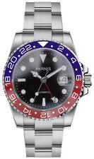 PARNIS 2034 Rouge & bleu GMT Montre Automatique pour Hommes Acier Inox Céramique