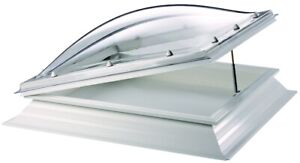Thermadome Dome Rooflight PVC Kerb and Manually Hinged Opening.
