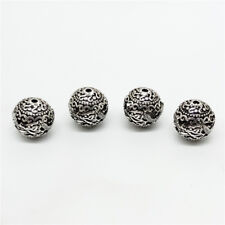 2 of 925 Sterling Silver Hollow Round Ball Dragon Beads for Bracelet Necklace