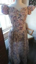 Beautiful 1930s/1940s Handmade Maxi Pink Purple Hostess Sheer Party Dress 8-10