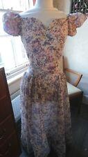 Beautiful 1930s/1940s Handmade Maxi Pink Purple Hostess Sheer Party Dress 8-10