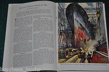 1942 USA WAR PRODUCTION magazine article, early WWII, industry, color art Oakley