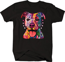Neon Colorful Pit bull Puppy Dog Smiling Pet Animal Lover Paws T-shirt
