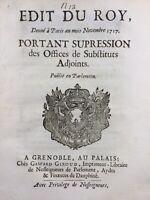 Grenoble en 1717 Isère Rhône-Alpes Édit du Roi Dauphiné