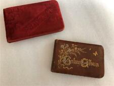 2 Antique Victorian Autograph books as Found 1880's     Backwards writing in one