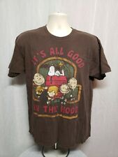 Peanuts Charlie Brown Snoopy It's All Good In The Hood Adult Large Brown T-Shirt