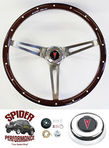 "1964-1966 Tempest Grand Prix steering wheel PONTIAC 15"" MUSCLE CAR MAHOGANY"