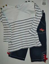 GYMBOREE girls Navy Blue TULIP Capri PANTS + JASPER CONRAN Nautical Stripe TOP 5