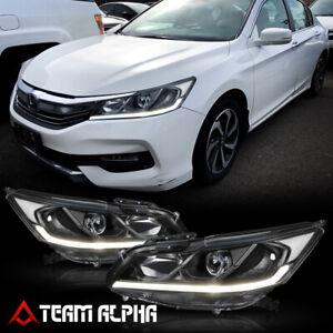 Fits 2016-2017 Honda Accord 4Dr {LED STRIP DRL} Black/Clear Projector Headlight