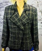 Linda Allard Ellen Tracy Black/White Wool Blend Blazer/Jacket Size 14 NEW