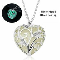 Charm Hollow Heart Love Glow In The Dark Magic Pendant Necklace Luminous Women