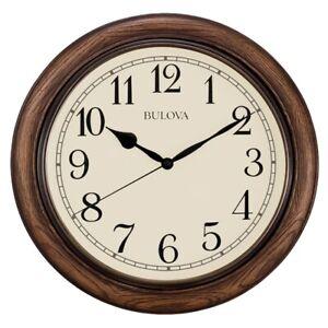 """*BRAND NEW* Bulova Oakbrook Dark Oak Wood 16"""" Round Wall Clock C4845"""