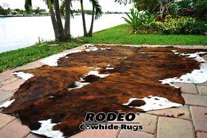 SUPERIOR   HAIR ON SKIN  cowhide RUG  BRINDLE size approx 6X7- 7x7 feet