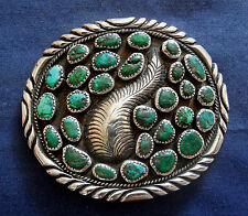 MARY TENORIO KEWA STERLING Silver 29 TURQUOISE Mans Vintage BUCKLE