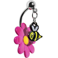 New Cute Dangle Belly Button Ring Pink Flower Bee Navel Rings Belly Piercings