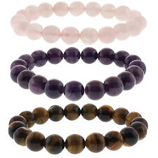 10mm Rose Quartz, Purple Amethyst and Tiger's Eye Stretchy Bracelet Set of Three