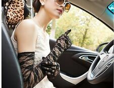Women Wedding Bridal Party Prom Evening Drive protect Lace Elbow Long Gloves