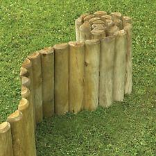 BISEN WOODEN EDGING ROLL NEW FENCE LOG  BORDER  FENCE GARDEN LAWN GRASS OUTDOOR