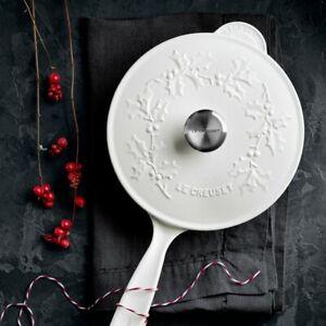 Le Creuset Signature Enameled Cast Iron White Holly Sauce Pan Saucier New NIB