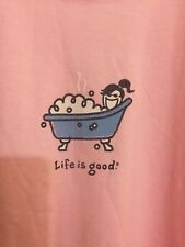 "LIFE IS GOOD WOMENS Pink t-shirt ""BATHTUB"" Short Sleeve Size XXL"