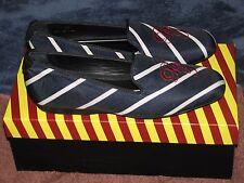 Pair of new Bull + Tassel shoes, size 8.5,  Navy Silver Stripe BT0003,