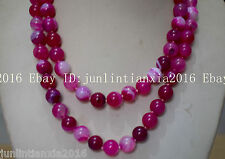 Natural 8mm Pink Striped Agate Onyx Gemstone Bead Necklace 36'' AAA
