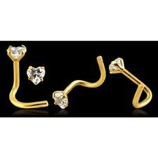 14ct Carat Gold Heart Design Gem Stud Nose Screw Piercing Pin 20g 6mm