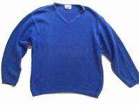 Hackett London Mens Jumper Medium Blue Knit Cotton Size L V-Neck Made in Italy