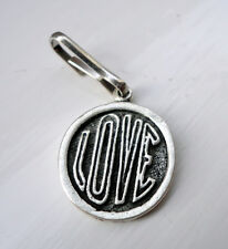 ZPs Love Pendant / Zipper Pull / Tag Lead Free Pewter  Flower Power