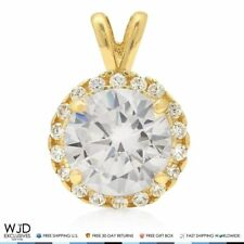 2.20Ct Simulated Diamond Halo Solitaire Charm Pendant 14k Yellow Gold 11mm