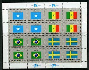 UNITED NATIONS SCOTT# 411-4 FLAGS SOMALIA SENEGAL BRAZIL SWEDEN SHEET AS SHOWN
