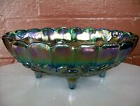 Indiana Glass Iridescent Blue Carnival Garland Oval 4 Toed Center Fruit Bowl