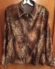 Harve Benard Reversible Jacket STRETCHY Brown Full Zip Women's Size 10 NEW