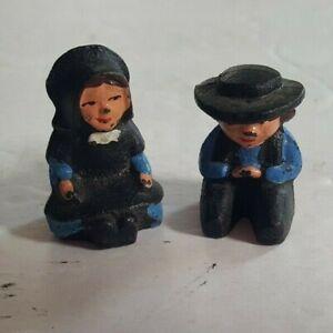 Pair of Cast Iron Amish Mennonite Miniature Figurines Man & Woman