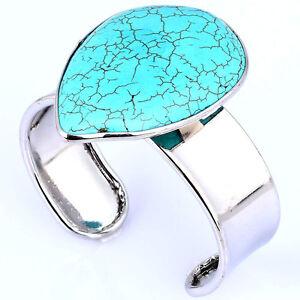 Trendy Fashion Gift Turquoise Blue Open Ended Bracelet