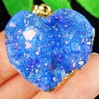 Wrapped Titanium Crystal Agate Druzy Quartz Geode Heart Pendant Bead A81198