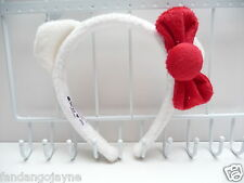 Hello Kitty white fluffy ears Headband    - Costume Jewellery Headbands
