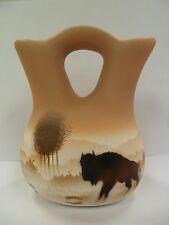 Navajo Handpainted Pottery (Cedar Mesa-Buffalo Tracks #64023) w/COA Made in USA