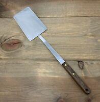 "Vintage Mel Jax Spatula Flipper Stainless Steel Long Wood Handle USA 14"" Clean"