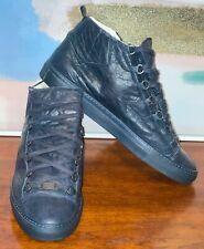 Balenciaga Arena Sneakers Mens 373401 High Navy Leather Shoes Size US10 EU43