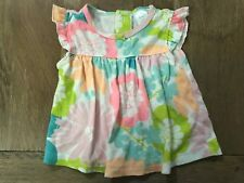 Carters Baby Girl Floral Top Summer Flutter Sleeve Size 00-0 Soft Bright 🌈💗🌈