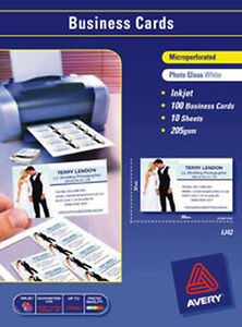 BUSINESS CARDS AVERY A4 I/J LEATHERGRAIN IJ39 200GSM PK20