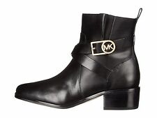 Michael Kors BRYCE Ankle Bootie Buckled Leather Boots Black 6/6.5 New $245
