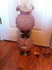 """Vintage Fenton Art Glass Pink/Rose OVERLAY ROSES Gone With The Wind LAMP 22 1/2"""""""