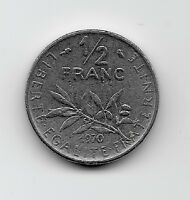 World Coins - France 1/2 Franc 1970 Coin KM# 931.1