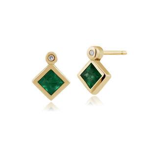 Gemondo 9ct Yellow Gold 0.32ct Emerald & Diamond Stud Earrings