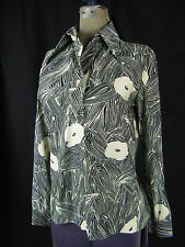 LANVIN Vtg 70s Black White Abstract Print Knit Top-Bust 37/S-M
