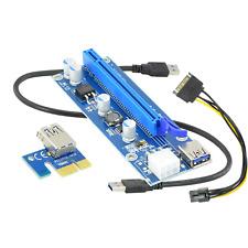 Pci-E 1x-16x Pcie Riser Card Gpu Mining Usb 3.0 V.009s Sata 6pin Power Blue